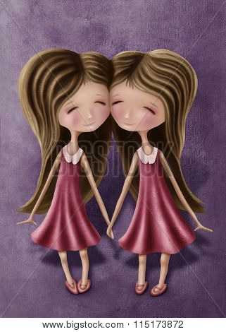 Illustration with gemini astrological sign girls
