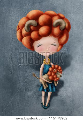 Illustration with a leo astrological sign girl
