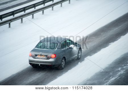 Traffic in Vilnius during winter snowstorm