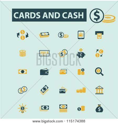 cards, cash, money, payment, atm, dollar, bank, banking  icons