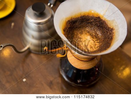close up of coffeemaker and coffee pot