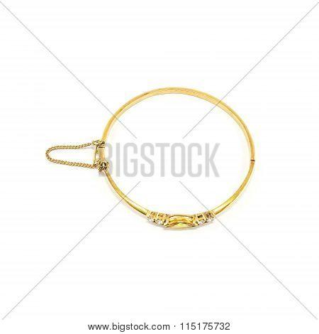 Gold Bracelet Isolated On White Background