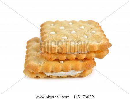 Puff Sandwich Lemon Flavored Cream On White Background