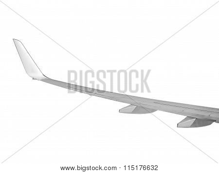 Aeroplane Wing Over Isolated On White - Left Wing