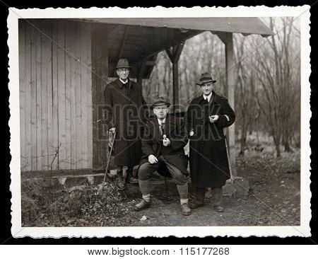 Antique Photo Three Men Posing Outdoors