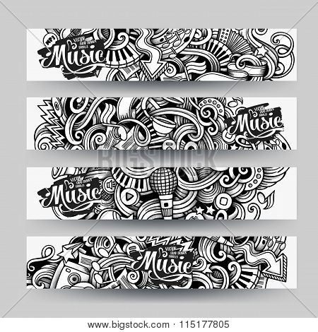 Graphics vector hand drawn sketchy trace Music Doodle banners