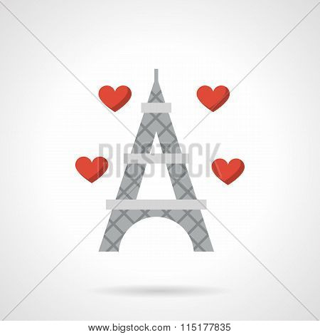 Love France flat color vector icon
