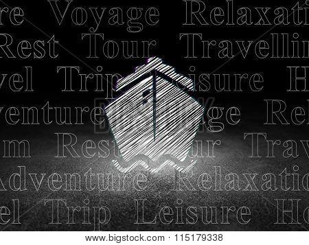 Tourism concept: Ship in grunge dark room