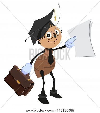 Ant teacher holding briefcase and clean sheet