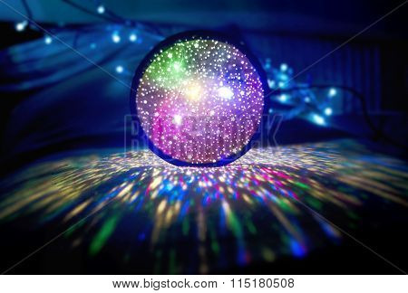 Bright Ball Of Multicolored Led Lights In Darkness