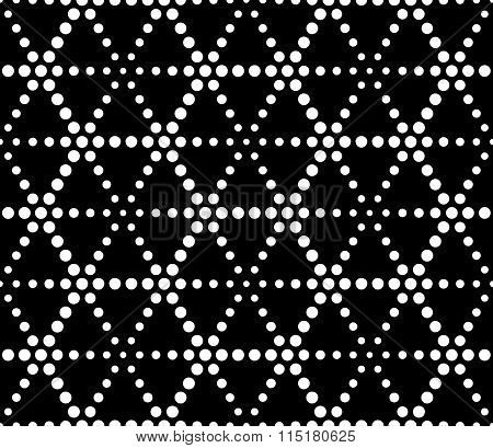 Vector modern seamless sacred geometry pattern dots black and white abstract