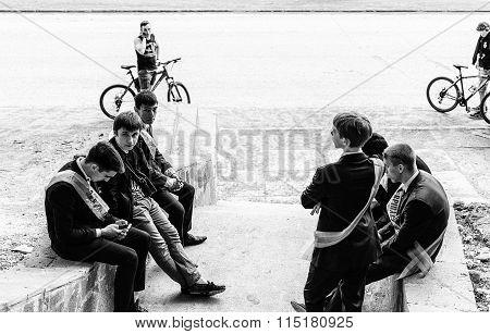 Group Of Russian School Kids