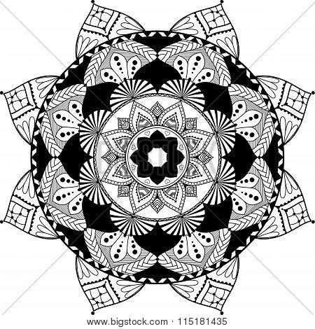 mandala, zentangle inspired illustration