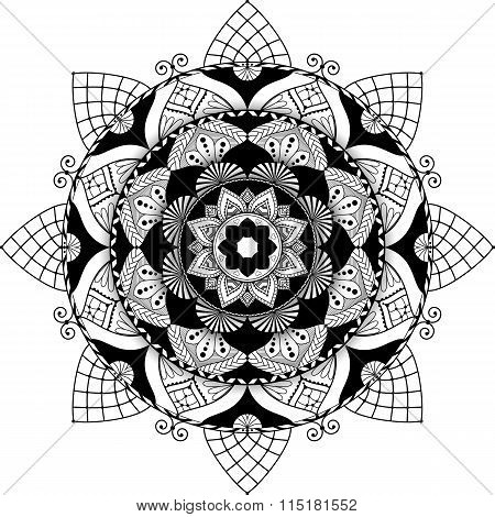 mandala, zentangle inspired illustration, black and white with shadow