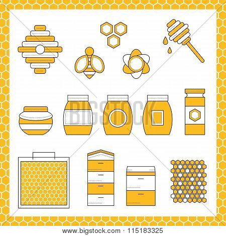 Outline vector set of apiary