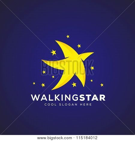 Walking Star Abstract Vector Icon, Symbol or Logo Template
