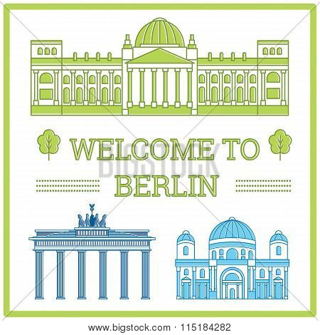 Flat vector Illustration Reichstag in Berlin, Berlin Cathedral, Brandenburg Gate, Berlin wall, Germany