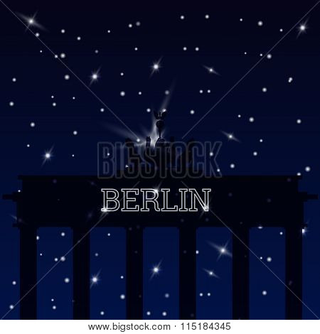 Flat vecor retro illustration Brandenburg Gate, Germany.
