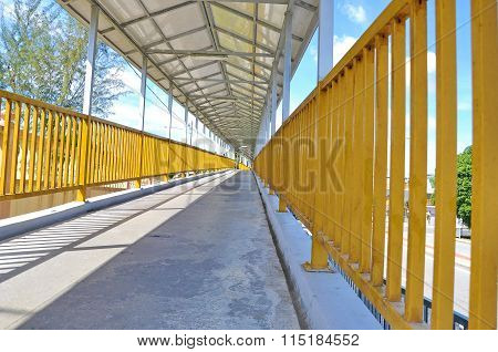 Walker Walkway Through The Flyover With Roof And Fence