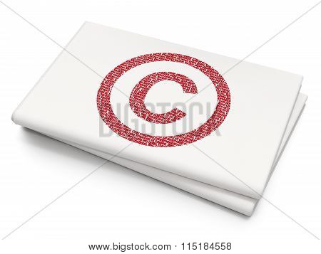 Law concept: Copyright on Blank Newspaper background