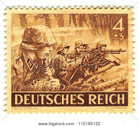 GOMEL,BELARUS - JANUARY 2016: A stamp printed in Germany shows image of the German soldiers, circa 1943.