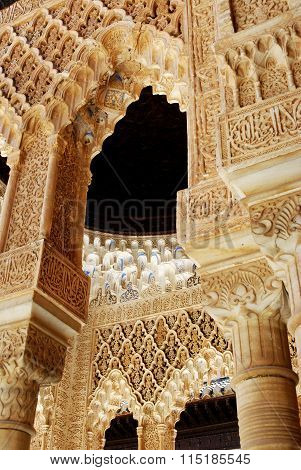 Marble arches, Alhambra Palace.