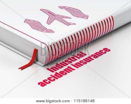 Insurance concept: book Airplane And Palm, Industrial Accident Insurance on white background