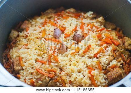 Pilaf With Meat And Vegetables Closeup