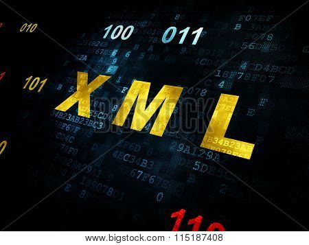 Database concept: Xml on Digital background