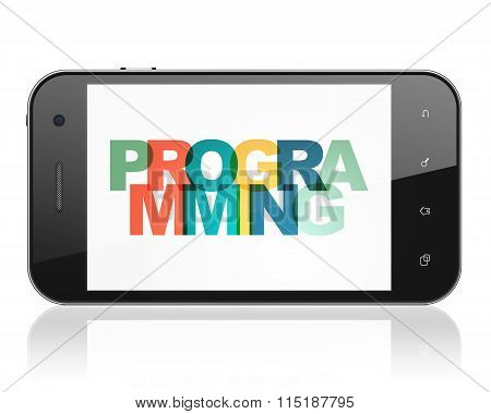 Programming concept: Smartphone with Programming on  display