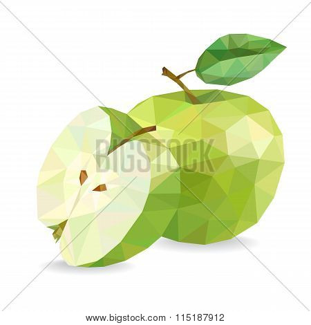 Apple and Slice. Low Poly Vector Illustration, Isolated On A White Background.