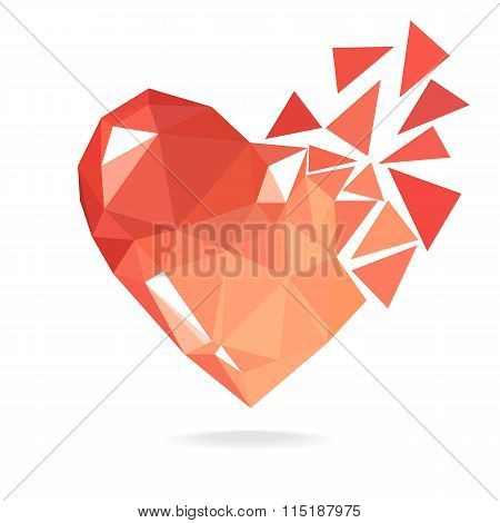 Broken Low Poly Heart Isolated On White Backgrou