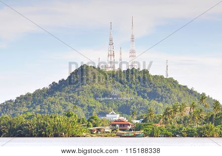 Big Hill With Telecommunication Antenna And Radio Station At Terengganu, Malaysia