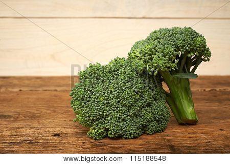 Fresh Raw Broccoli On A Kitchen Bench.