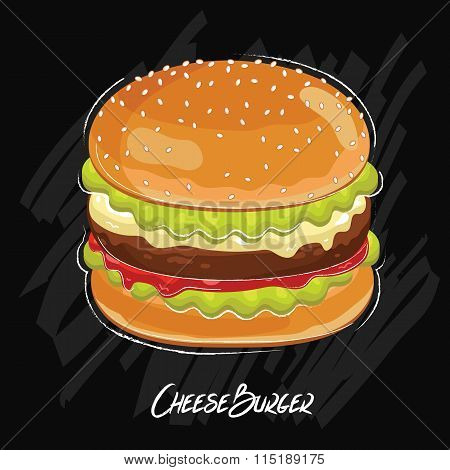 Burger isolated on chalkboard. Classic fastfood. Illustration in vintage style. Vector burger. Cartoon burger illustration.