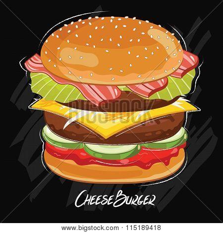 Burger isolated on chalkboard. Classic fastfood. Illustration in vintage style. Vector burger.  Cartoon burger illustration.