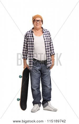 Full length portrait of a cool senior hipster posing with a skateboard isolated on white background
