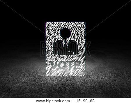 Political concept: Ballot in grunge dark room