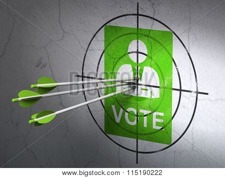 Politics concept: arrows in Ballot target on wall background