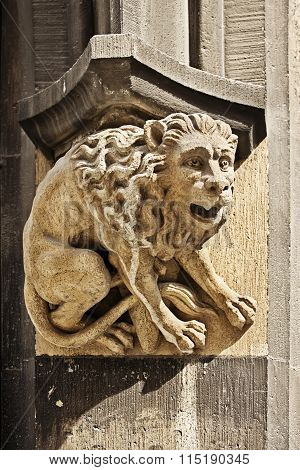 Gothic Figure Of Lion On Town Hall In Marienplatz, Munich, Germany