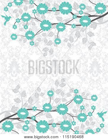 Vintage invitation card with ornate elegant retro abstract floral design, aquamarine green flowers and light grayish green leaves on faded green and white background. Vector illustration.