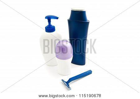 Gel, Shampoo, Blue Razor And Deodorant