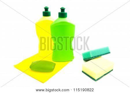 Sponges, Soap, Rag And Bottles