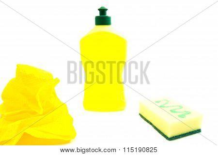 Sponge, Bottle And Yellow Rag