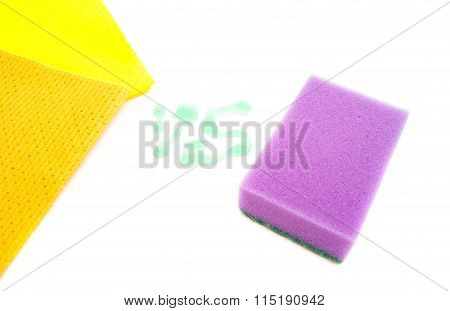 Two Rags And Purpple Sponge