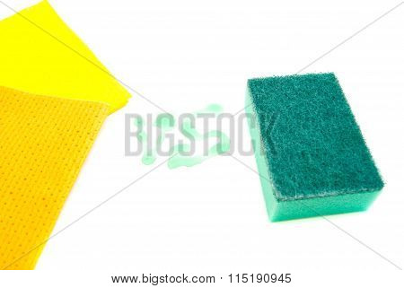 Two Rags And Green Sponge
