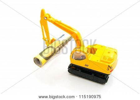 Euro Banknotes And Yellow Backhoe
