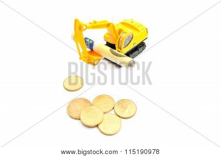 Euro Coins, Banknotes And Yellow Backhoe