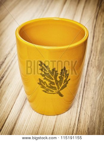Ceramic Orange Empty Flower Pot