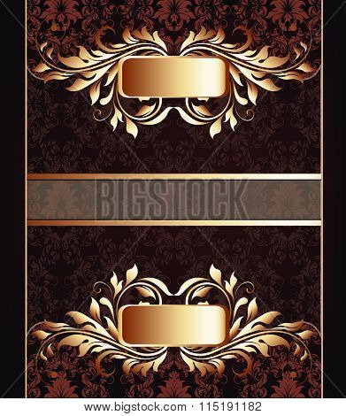 Vintage invitation card with ornate elegant retro abstract floral design, gold and brown flowers and leaves on dark chocolate brown background with ribbon. Vector illustration.